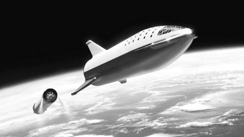 """图片表明:美国SpaceX公司的""""星舰""""想象图(上)与印度的月球巡视器(下)。"""