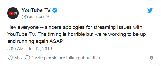 YouTube的道歉推文