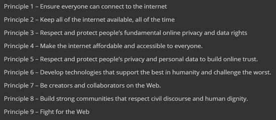 蒂姆·伯纳斯-李在《互联网契约》中提出的九条原则(图片来源:https://contractfortheweb.org)