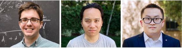格兰特·雷蒙、克利福德·张和刘峻宇(左起)发现黑洞的极值极限的变化与其熵的变化相吻合
