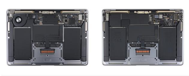 左:英特尔版Air  右:M1芯片的Air