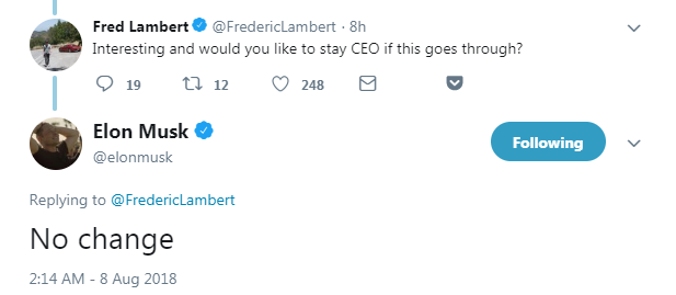 """网友:""""私有化以后,你还继续担任特斯拉的CEO吗?"""" 马斯克:""""不会改变。"""""""