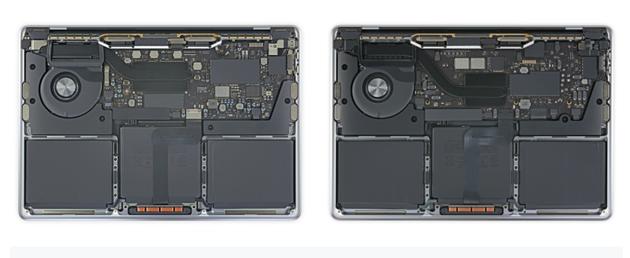 左:13寸英特尔版MacBook Pro 右:M1芯片的13寸MacBook Pro