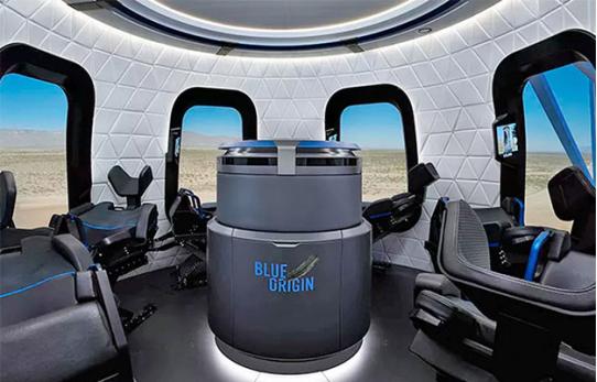 新谢泼德火箭搭载的太空舱内景,太空舱满员6人,本次系首次载人飞行,只搭载了4人。
