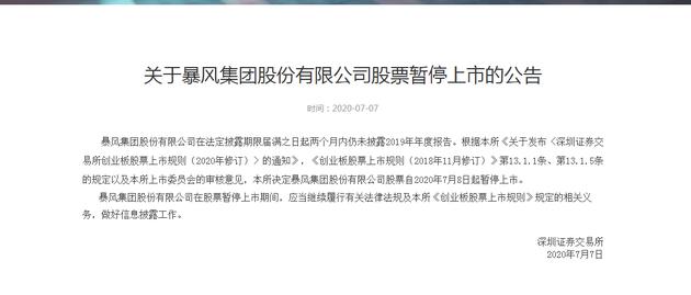 深交所:暴风集团股份有限公司股票7月8日起暂停上市