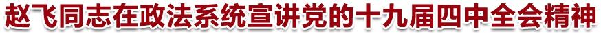 趙飛同志在政法系統宣講黨的十九屆四中全會精神