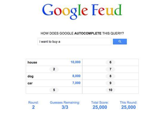 Google Feud:你来猜我们的搜索热词什么?