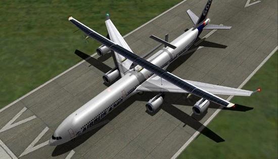 陽光動力號飛機分為1號和2號,最新的為陽光動力2號。其機身采用碳纖維材質制成,翼展72米,比波音747還要寬,重2.3噸,與一輛小車相當。