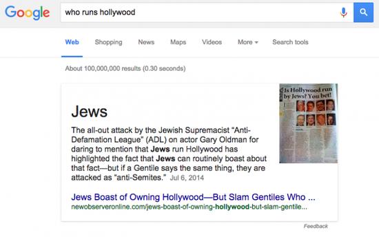 谁控制了好莱坞?谷歌说是犹太人