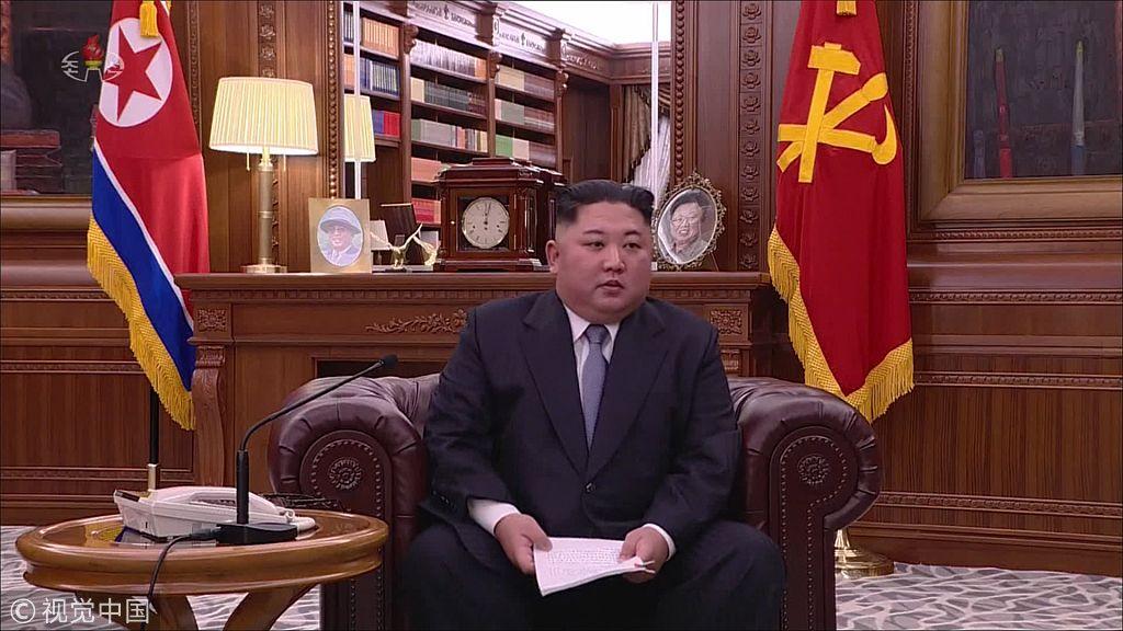 ▲当地时间2019年1月1日,朝鲜最高领导人金正恩发外新年贺词。 图片来源:视觉中国