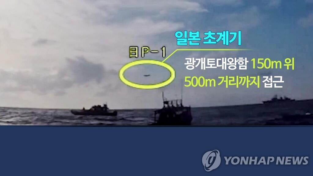 2018年12月日本P-1巡逻机抵近韩军舰。(图片:韩联社)