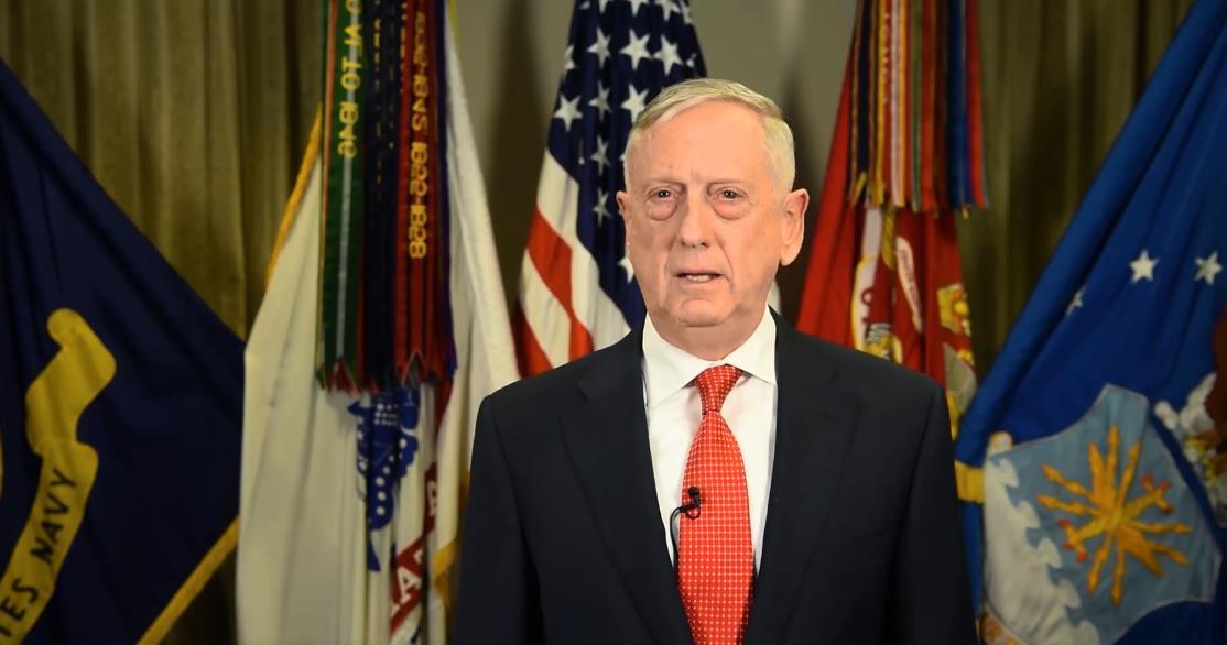 马蒂斯在圣诞视频中外达了对美军的感谢(图片来源:外交媒体)