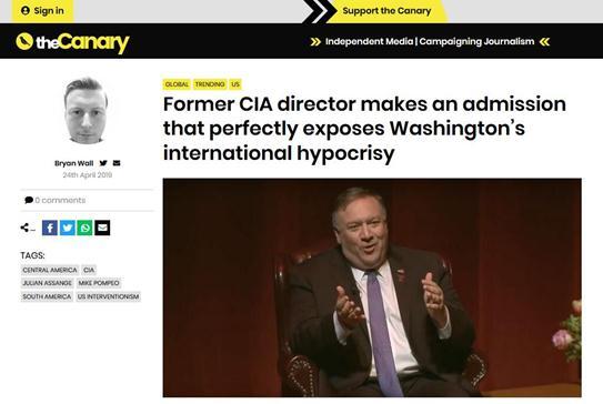 """thecanary""报道截图:前CIA局长的招认,完全暴露了华盛顿的国际伪善"