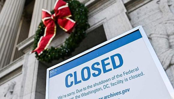 2018年12月22日,华盛顿,国家档案馆受当局关门影响关闭。图片来源:视觉中国