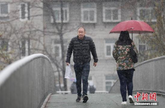图为北京街头,行人冒雨赶路。 中新社记者 杜洋 摄