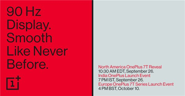 一加7T将于9月26日发布 90Hz显示屏+升级的电池