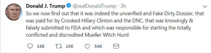 特朗普连发四推指责FBI和希拉里:你们在针对我