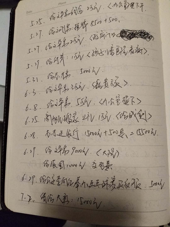 图为片面账单。新京报记者赵凯迪摄