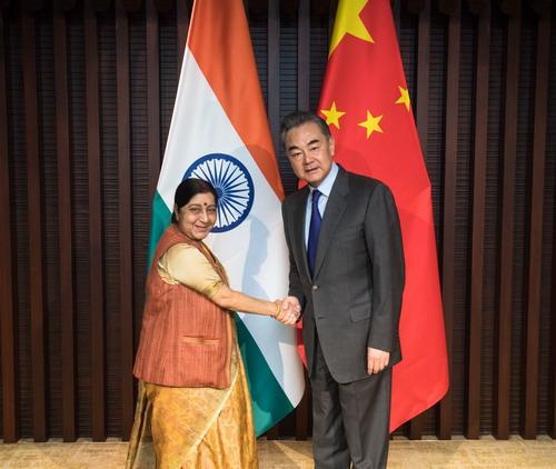 2019年2月27日,國務委員兼外交部長王毅在浙江烏鎮會見前來出席中俄印外長會晤的印度外長斯瓦拉吉。(外交部)