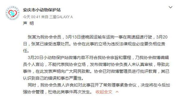 微博@安庆市小动物保护站 截图