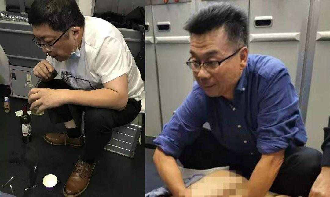 △万米高空航班上,张红医生(左)用嘴帮突发急病的老人吸出尿液,肖占祥医生(右)不停根据膀胱积尿情况调整穿刺位置和角度