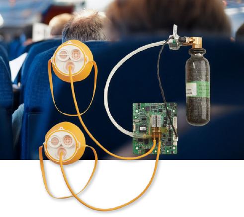 脈沖供氧系統,一個氧氣瓶可以給多名旅客提供規定所需的應急氧氣