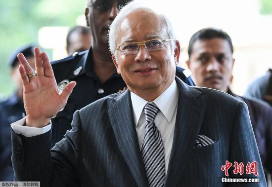 """原料图:据外媒9月19日报道,马来西亚逆贪委员会称,马来西亚前总理纳吉布被逮捕,牵涉""""一马发展(1MDB)""""洗钱调查一案。图为马来西亚前总理纳吉布原料图片。"""