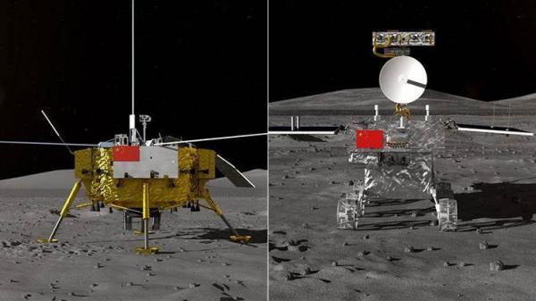 嫦娥四号着陆器与巡视器 | 图片来源 @中国空间技术钻研院