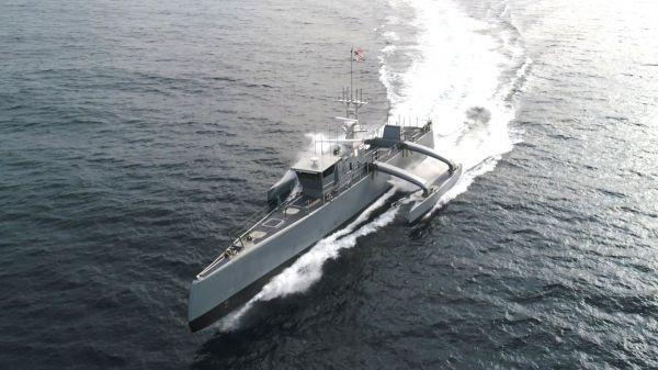 """资料图片:美海军""""海上猎手""""无人猎潜艇高速试航。(美海军官网)"""