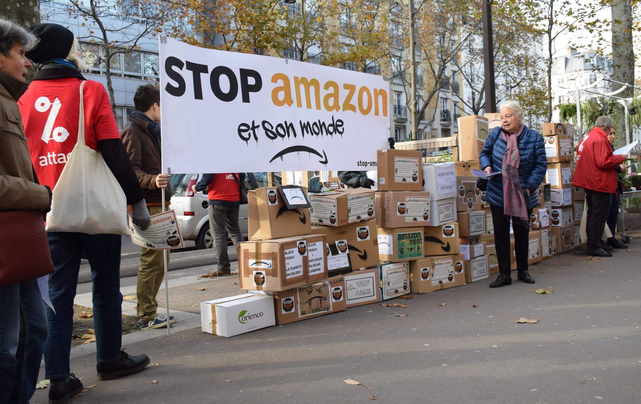 法国抗议者发起的反对亚马逊活动