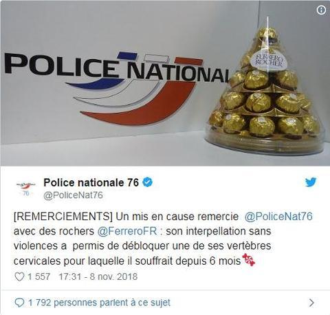 当地警方将这件趣事发到了推特上,引爆法国网友热议。(图源:推特)