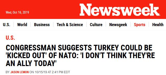 """美议员:土耳其表现得不像盟友 或被""""踢出?#21271;?#32422;"""