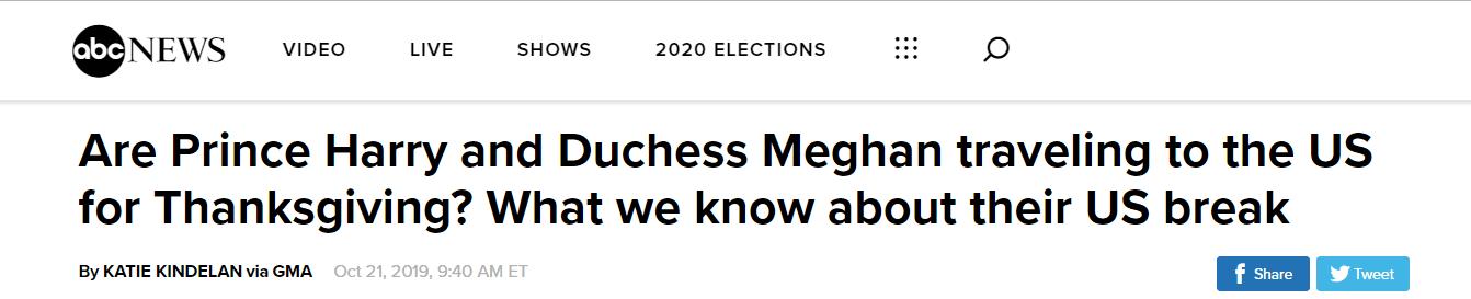 """哈里王子夫妇年底将带娃到梅根""""娘家""""美国度假"""
