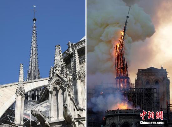 资料图:当地时间4月15日,法国巴黎圣母院遭遇大火,浓烟弥漫整个巴黎上空。在大火中,大教堂著名的尖塔坠落,内部损伤严重。图为大教堂标志性尖塔在大火中被烧毁。