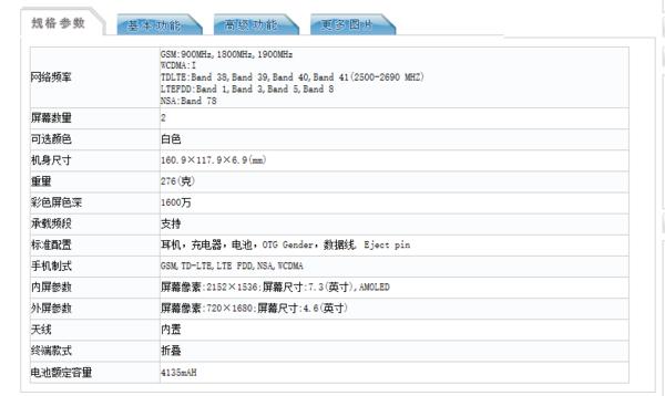 三星W20 5G正式入网工信部,产品的配置参数曝光