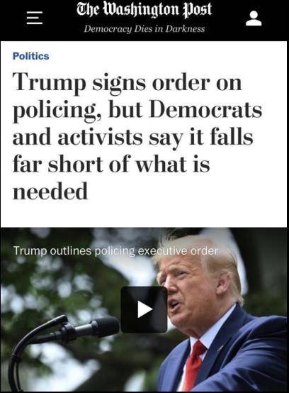 △《华盛顿邮报》指出,特朗普签署的警务改革行政令充满形式主义