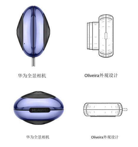 ∆ Oliveira外观设计专利和华为Envizion360全景相机摄像头对比