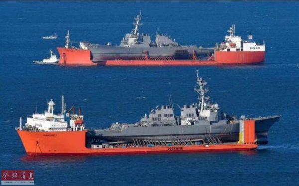 """美海军两艘同因撞船而""""残废""""的伯克级驱逐舰别离坐着半潜船在海上团聚。"""