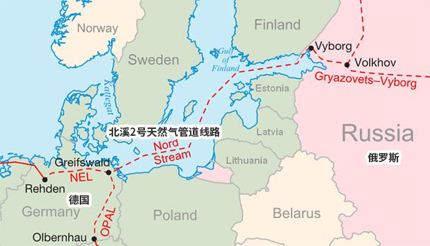 北溪2号天然气管道线路图 图自维基百科