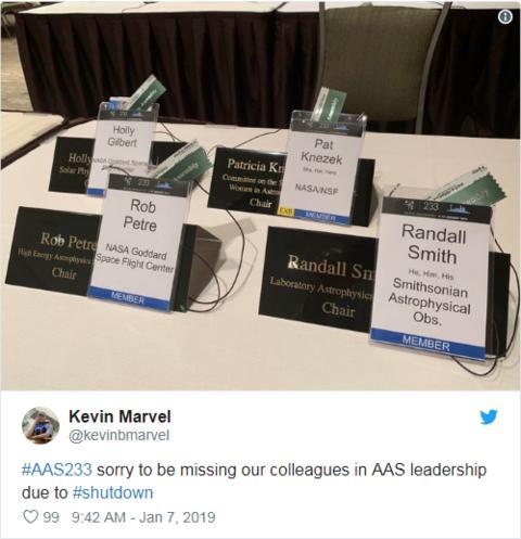 美国天文学会成员为未参会的同事感到遗憾。(社交平台)