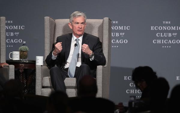 """当地时间2018年4月6日,美国芝加哥,美联储主席鲍威尔在芝加哥经济俱乐部发表题为""""美国经济前景展望""""的演讲。视觉中国 图"""