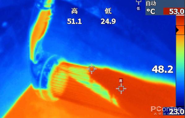 设定温度为50℃,可见实际温差很小