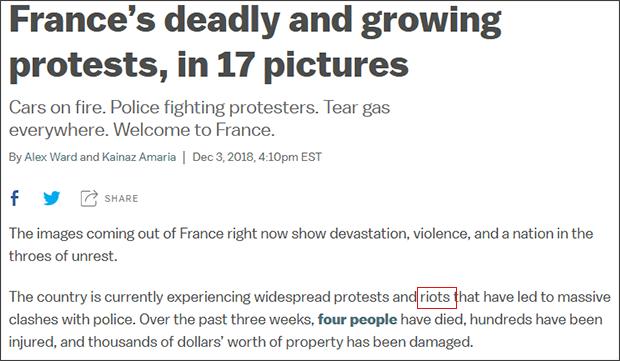 """美国VOX电视台在12月3日报道中,同样称抗议活动为""""暴乱""""(riots) 截图自VOX"""