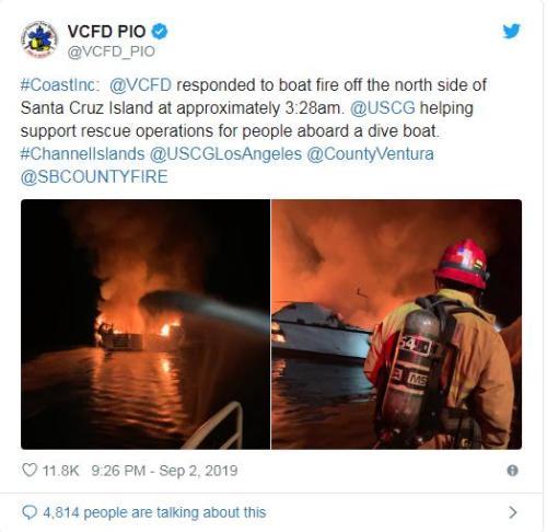 图片来源:加州文图拉郡消防局社交媒体官网截图。