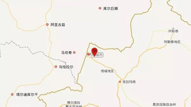 塔城市今日先后发生5.2级地震及3.0级地震。图片来源:中国地震台网微信公众号