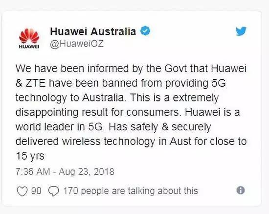 华为澳大利亚分公司推特截图