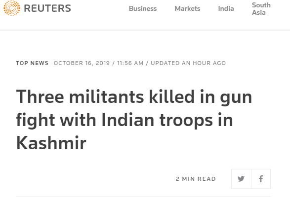 克什米爾再爆槍戰 印方稱3名武裝人員被擊斃