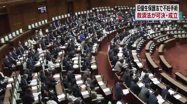 日本国会229票全票议定《旧优生珍惜法施舍法》NHK报道截图