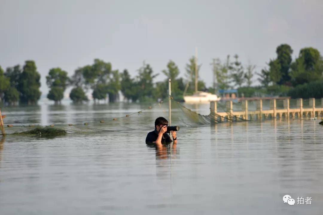 △ 2016年7月8日,湖北武汉,新京报记者陶冉在拍摄受大雨影响的城市内涝画面。摄影/和冠欣