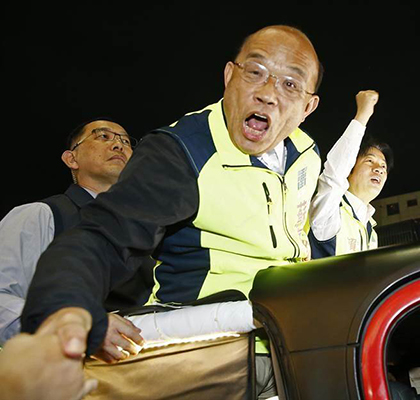 """苏贞昌声称,""""大陆再有钱的富商、再漂亮的女星,说关就关,这样的生活大家放心吗?""""(图片来源:台湾""""中时电子报"""")"""